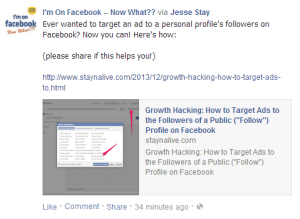 "Growth Hacking: How to Target Ads to the Followers of a Public (""Follow"") Profile on Facebook"